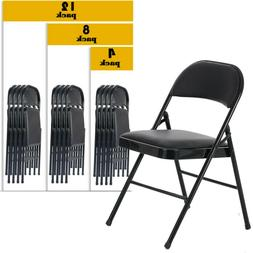 1-12PCP Folding Chair Fabric Upholstered Padded Seat Metal F