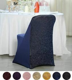 10 pcs Spandex Folding Chair Covers with Glittered Metallic