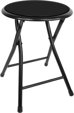 18in Round Folding Stool Foldable Cushioned Seat Kitchen Bar