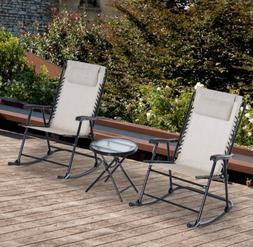 2 Folding Rocking Chairs Patio Dining Table Outdoor Garden 3
