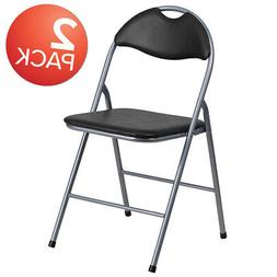 2 Pack Black Vinyl Metal Folding Chair with Carrying Handle