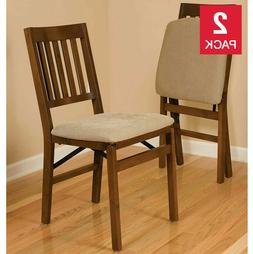 2 - Pack Solid Wood Upholstered Folding Chair, Padded Seat,