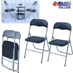 2 PCS Folding Chair PU leather Upholstered Padded Seat Metal