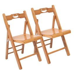 2pcs folding wood bamboo dining chairs camping