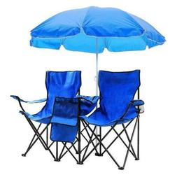 2-Seat Folding Cooler Beach Camping Chair with Removable Sun