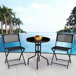 3 Pcs Outdoor Folding Bistro Table Chairs Set Minimalist Mod