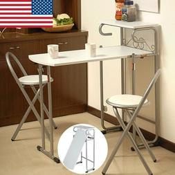 3 PCS Steel Wood Folding Dining Room Table 2 Chairs Set Stoo