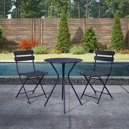 3-Piece Navy Finish Bistro Set W/ 2-Folding Chairs Durable O