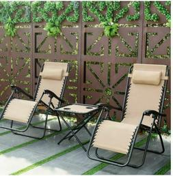 3PC SET ZERO ANTI GRAVITY BEIGE CHAISE LOUNGE PATIO CHAIRS &