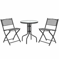 3PCS Bistro Dining Set Glass Top Table 2 Folding Chairs Indo