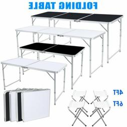4 6FT Folding Table Portable Outdoor Picnic Party Dining Cam