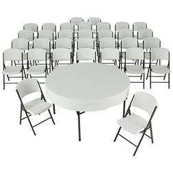 Lifetime 4 60-Inch Round Folding Tables with 32 Folding Chai