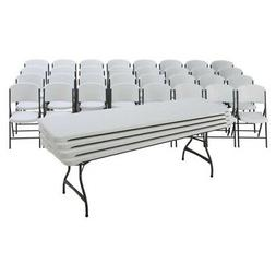 Lifetime 4 Stacking 8 Ft Tables And 32 Chairs Set - White Gr