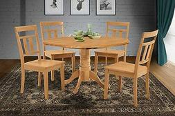 """42"""" ROUND DINETTE KITCHEN DINING ROOM TABLE CHAIR SET with 9"""