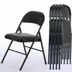 Black Folding Chairs Fabric Upholstered Padded Seat Metal Fr