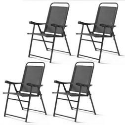 4pcs Folding Garden Patio Chairs Chaise Lounge Sling Chairs