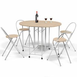 5 PCS Steel Wood Folding Dining Room Table 4 Chairs Set Stoo