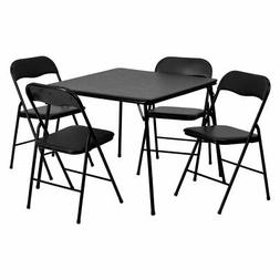 Flash Furniture 5- Piece Black Folding Card Table and Chair