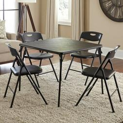 5 Piece Dining Table Set Foldable Chairs Metal Kitchen Room