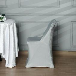 50 pcs Spandex Folding Chair Covers with Glittered Metallic