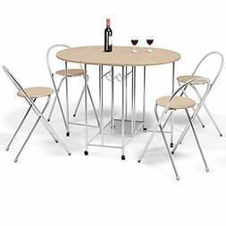 5PC Foldable Dining Set With Shelf Storage And Wine Rack, 4