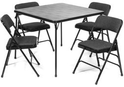 5pc XL Series Folding Card Table and Fabric Padded Chair Set