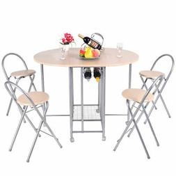 5PCS Foldable Dining Set Table and 4 Chairs Breakfast Kitche