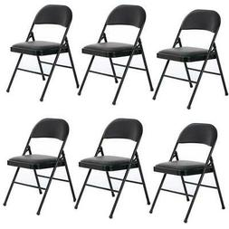 6-Pack Black  Padded Fabric Seat and Back Portable Stacking