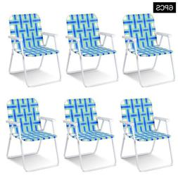 6 Pcs Folding Beach Chair Camping Lawn Webbing Chair Deck Ga