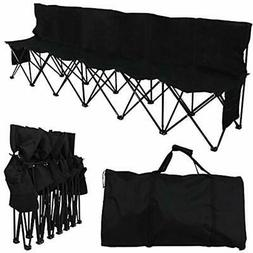 6 Seats Foldable Sideline Bench For Sports Team Camping Fold