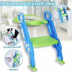 Adjust Toddler Potty Trainer Chair Kids Toilet Seat Step Sto