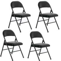 Black Folding Chair Cushioned Fabric Seat Dining Party Steel