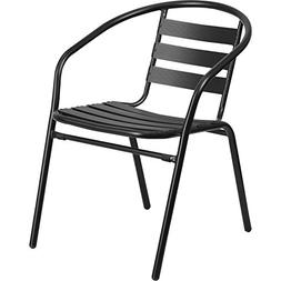 Flash Furniture Black Metal Restaurant Stack Chair with Alum