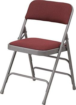 Burgundy Patterned Fabric Upholstered Metal Folding Chair