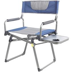 PORTAL Camping Folding Directors Chair With Cup Holder, Blue