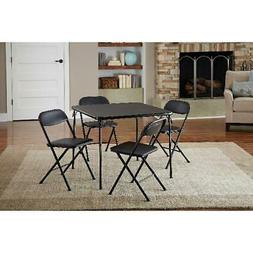 Card Folding Table 4 Chairs Dining Set Black Card Game Party