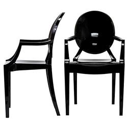 Modway Casper Eei-905-Blk Dining Armchairs Set Of 2 In Clear