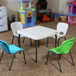 Childrens Square Folding Tables and Chair Set, Stain Resista