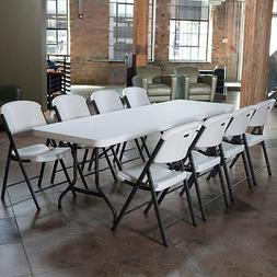 Lifetime Combo - 8' Table and  Folding Chairs, White