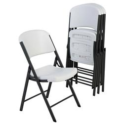 Lifetime Commercial Grade Contoured Folding Chair, 4 Pack Wh