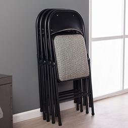 Deluxe Fabric Padded Folding Chair , Black Lace/Courtyard