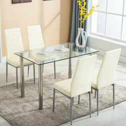 5 pcs Dining Set Glass Metal Table and 4 Chairs Kitchen Dini