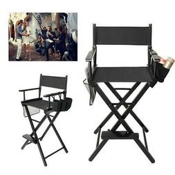 Directors Chair Canvas Tall Seat Black Wood Folding Hair Sty
