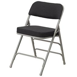 Double Hinged Black PinDot Fabric Upholstered Folding Chair