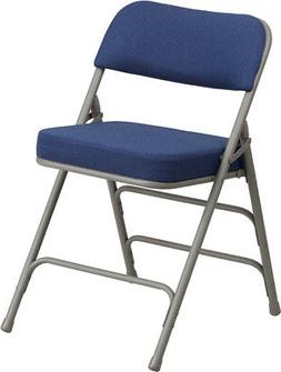 Double Hinged Navy Fabric Upholstered Metal Folding Chair