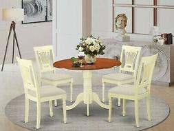 East West 5pc round drop leaf pedestal table + 4 padded chai