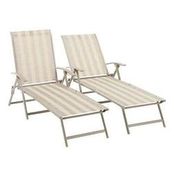 Mainstays Fair Park Sling Folding Chaise Lounge Chair, Set o