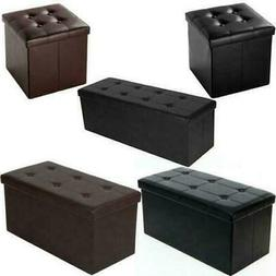 Faux Leather Storage Ottoman Bench Seat Home Chair Lounge Fo