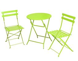 Cosco 3-Piece Folding Bistro-Style Patio Table and Chair, Br