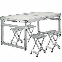 Folding Camping Table And 4 Chairs Picnic Set Aluminum frame